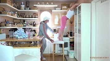 Blonde Sister Deepthroat Blowjob In Kitchen
