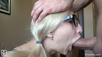 Sloppy Blonde Girlfriend Gives Perfect Blowjob